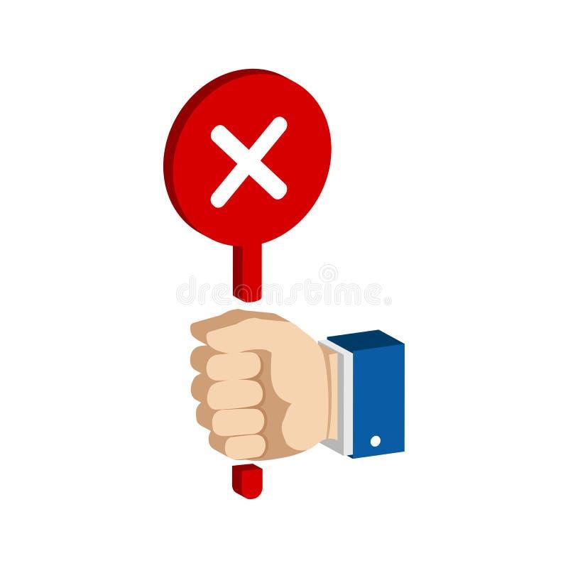 Hand mit falschem, Ausschusszeichen Flache isometrische Ikone oder Logo vektor abbildung