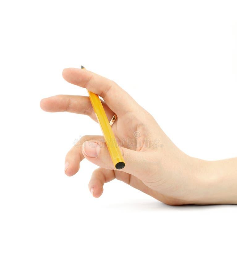 Hand mit Feder lizenzfreies stockfoto