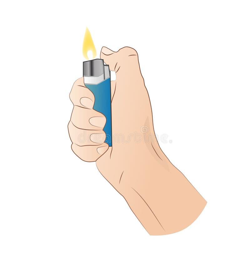Hand mit Feuerzeug lizenzfreie abbildung