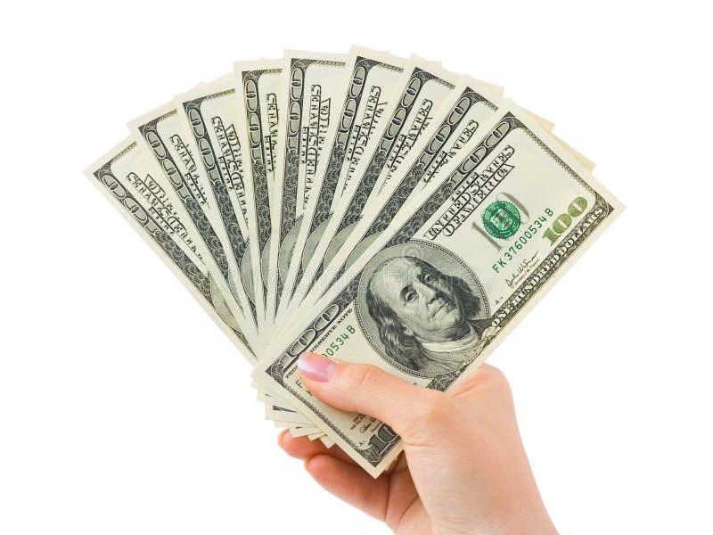 Hand mit Geld stockbild