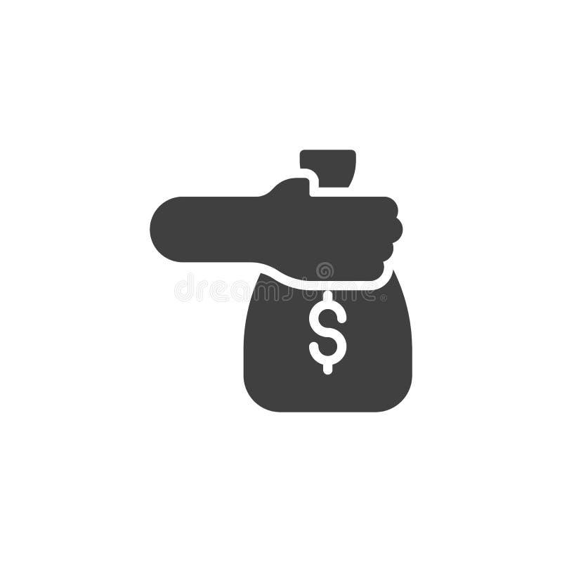 Hand mit Geldtaschen-Vektorikone vektor abbildung