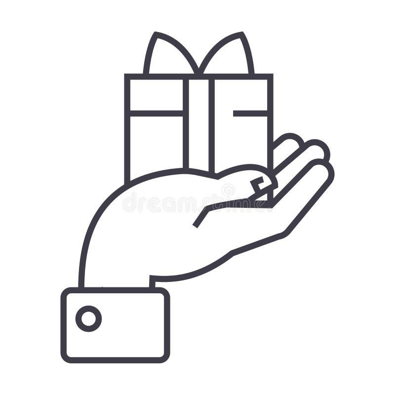 Hand mit Geschenkvektorlinie Ikone, Zeichen, Illustration auf Hintergrund, editable Anschläge vektor abbildung