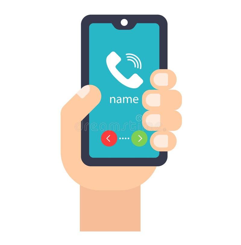 Hand mit Handy nehmen Sie an oder weisen Sie zurück lizenzfreie abbildung