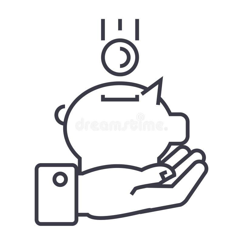 Hand mit linearer Ikone des Geldschweins, Zeichen, Symbol, Vektor auf lokalisiertem Hintergrund vektor abbildung