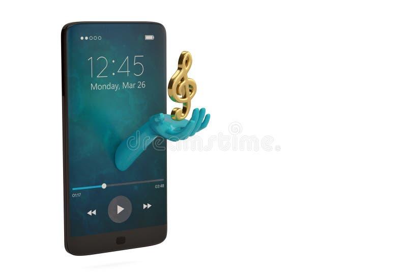 Hand mit Musikanmerkung und kreativem Konzept des Smartphone illustra 3D stock abbildung