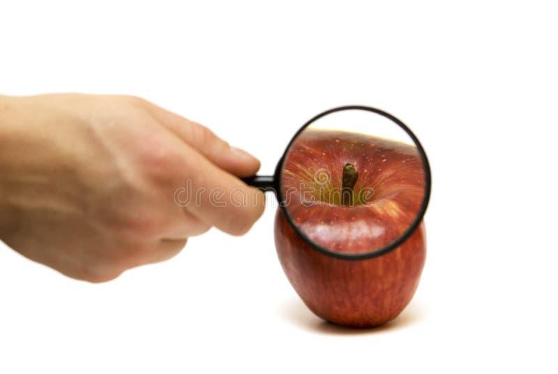 Hand mit Objektiv und dem Apfel lizenzfreies stockbild