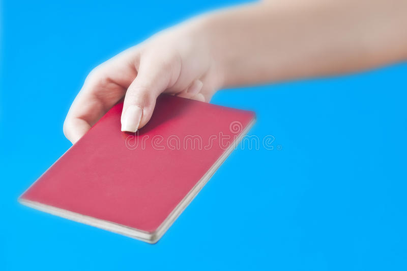 Hand Mit Paß Stockbild