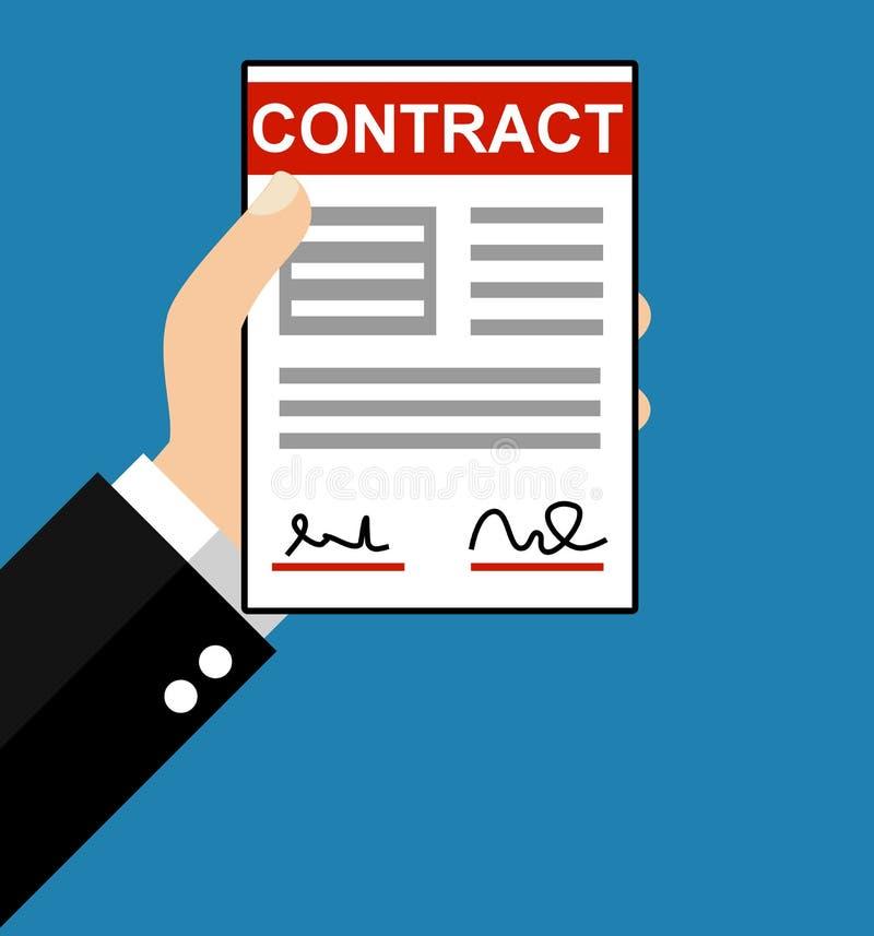 Hand mit Papier: Vertrag - flacher Entwurf lizenzfreie abbildung
