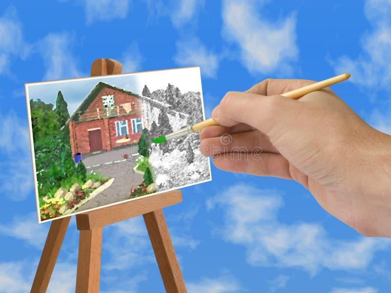 Hand mit Pinsel, Haus auf Papier lizenzfreies stockbild