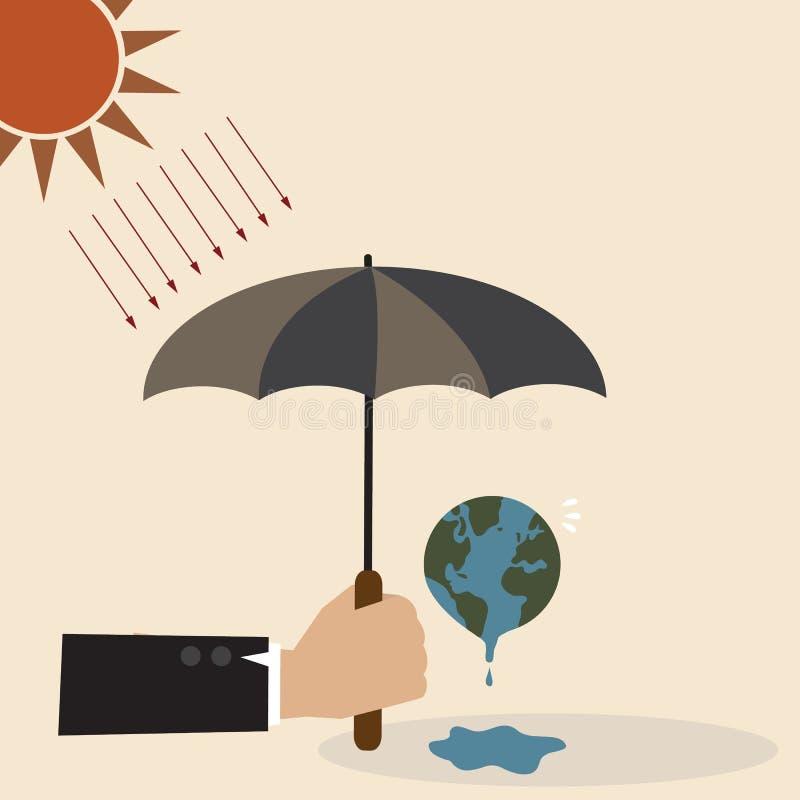Hand mit Regenschirm schützen die Erde vor Sonnenstrahl vektor abbildung