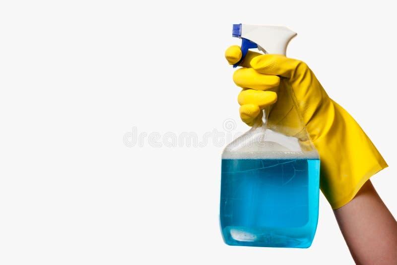 Hand mit Reinigungsmittel lizenzfreies stockfoto