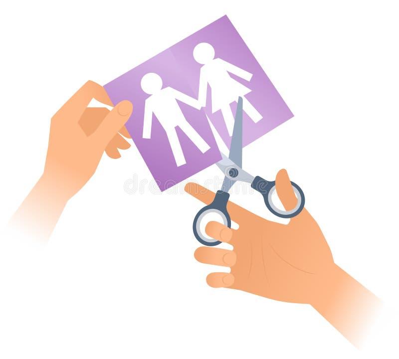 Hand mit Scheren trennt Papiermänner und Frauen vektor abbildung