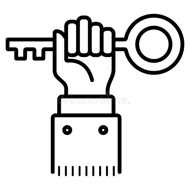 Hand mit Schlüsselikone, Vektor vektor abbildung