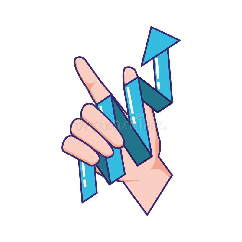 Hand mit Statistikpfeil lizenzfreie abbildung