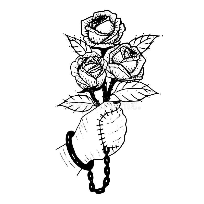Hand mit stieg Blumenstrauß von Rosen Hand werden mit stieg versiegelt Sy lizenzfreie abbildung