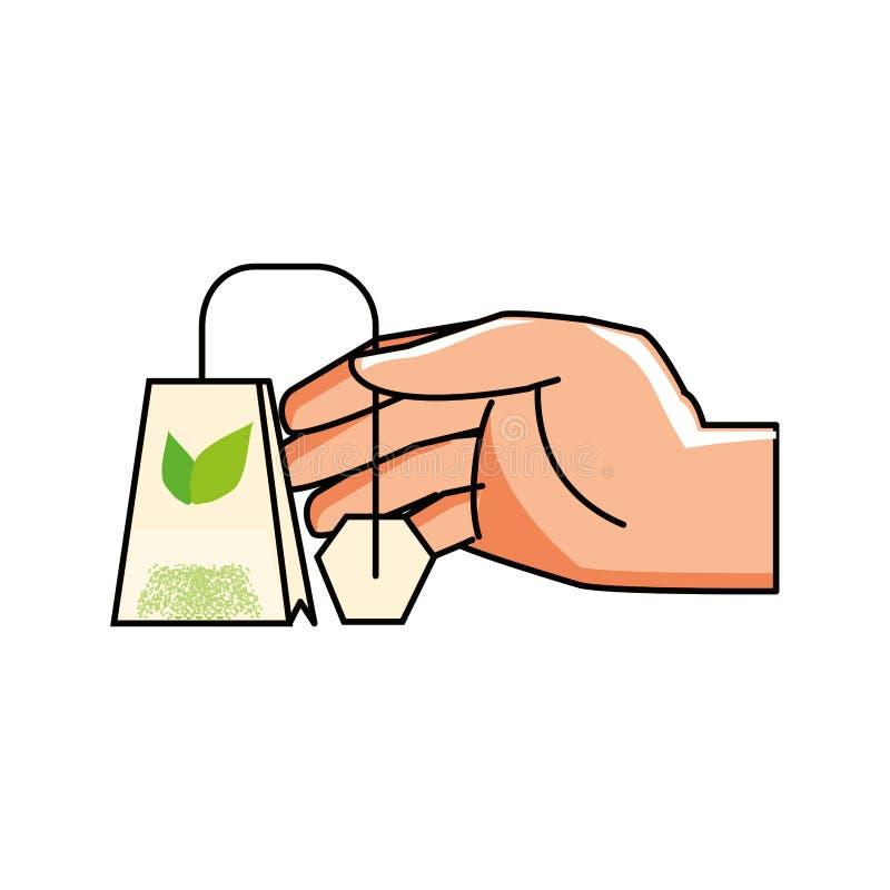 Hand mit Tasche des Teekrauts stock abbildung