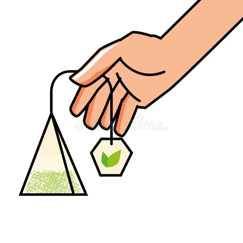 Hand mit Tasche des Teekrauts lizenzfreie abbildung