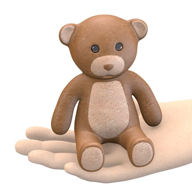 Hand mit Teddybären stock abbildung