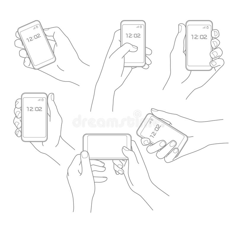 Hand mit Telefonvektorsatz vektor abbildung