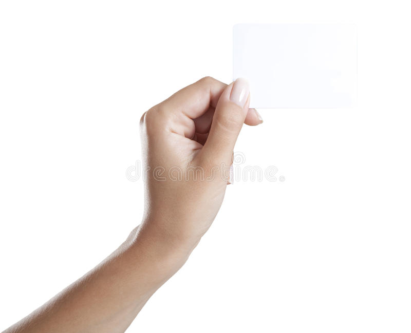 Hand mit Visitenkarte stockfoto
