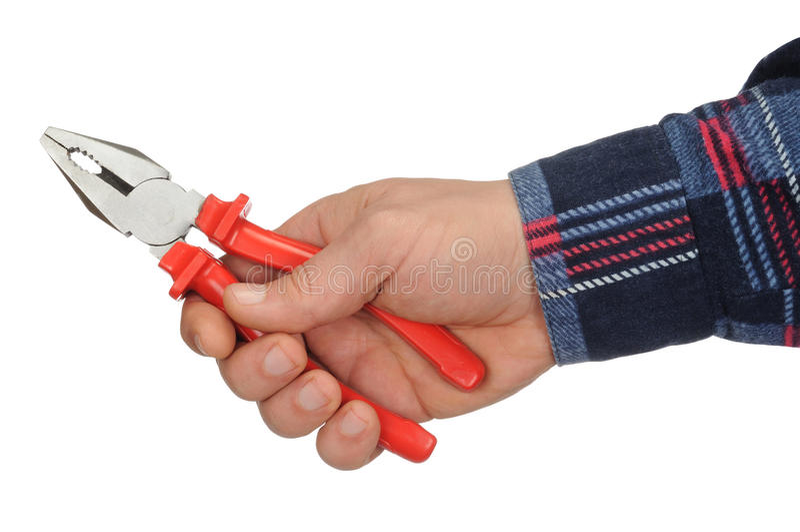 Hand mit Zangen stockfoto