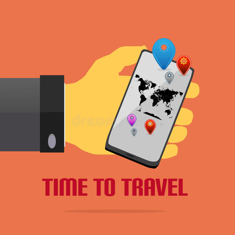 Hand With Mobile As a Flat Style With Map Pins. And World Map With Text vector illustration
