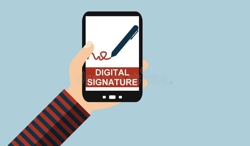 Hand with mobile phone: Digital Signature - Flat Design royalty free illustration