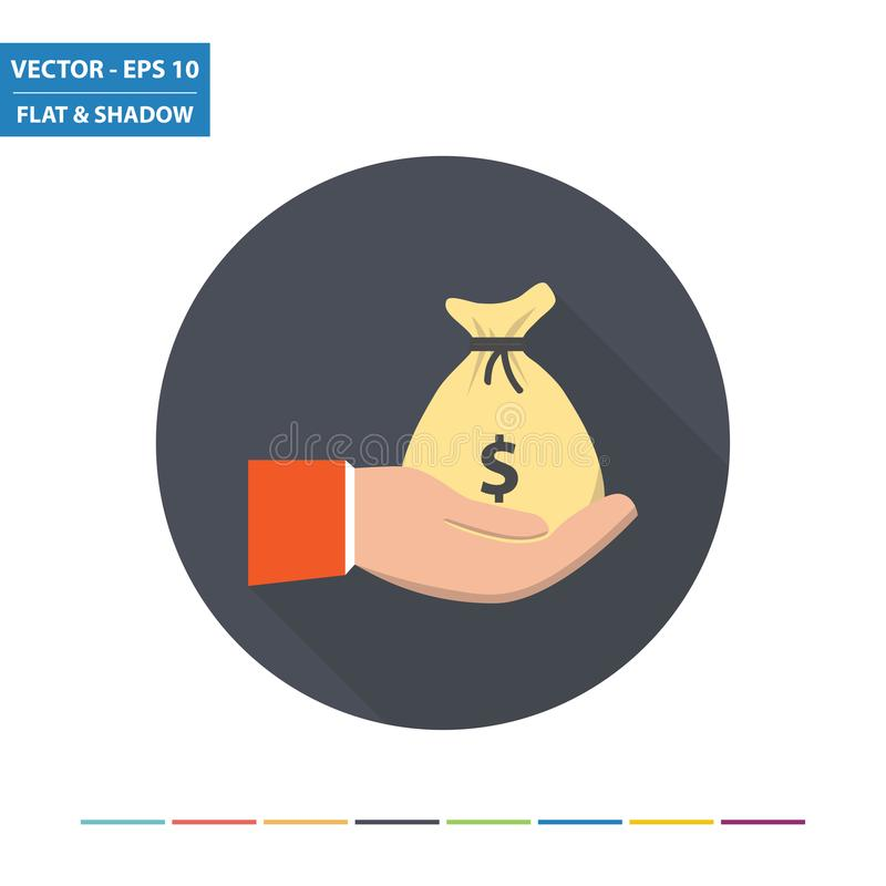 Hand and money bag - US dollar flat icon vector illustration