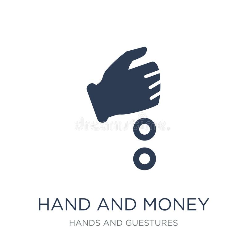Hand and Money icon. Trendy flat vector Hand and Money icon on w vector illustration