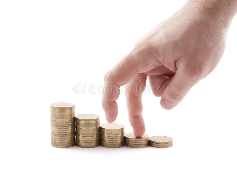 Hand and money staircase royalty free stock photography