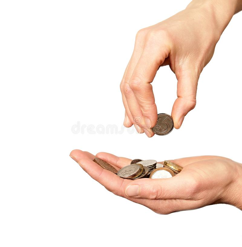 Hand with money on white background royalty free stock photos