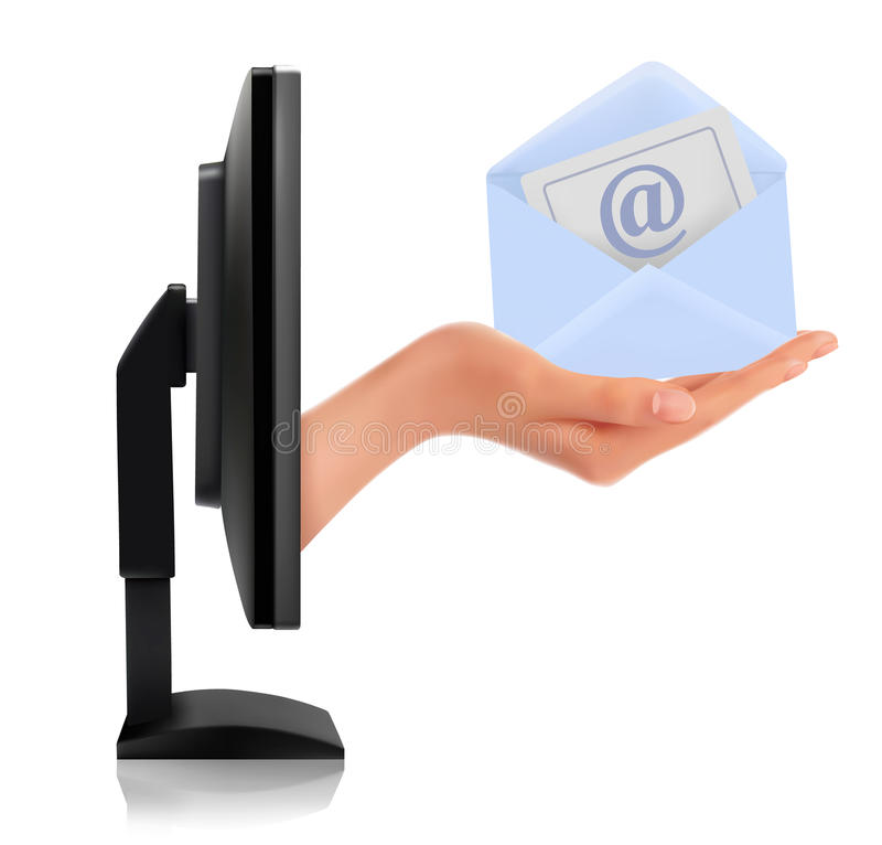 Hand from a monitor screen holding e-mail letter stock illustration