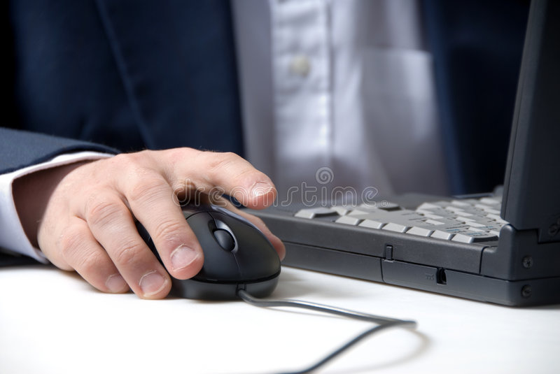 Hand and mouse stock photography