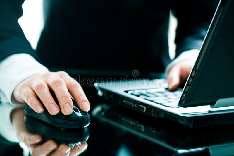 Hand on the mouse royalty free stock images