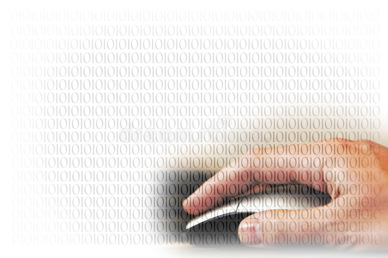 Hand Mouse Binary Code (over white) royalty free stock image