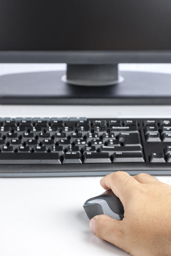 Hand Mouse Computer Keyboard Display royalty free stock photos