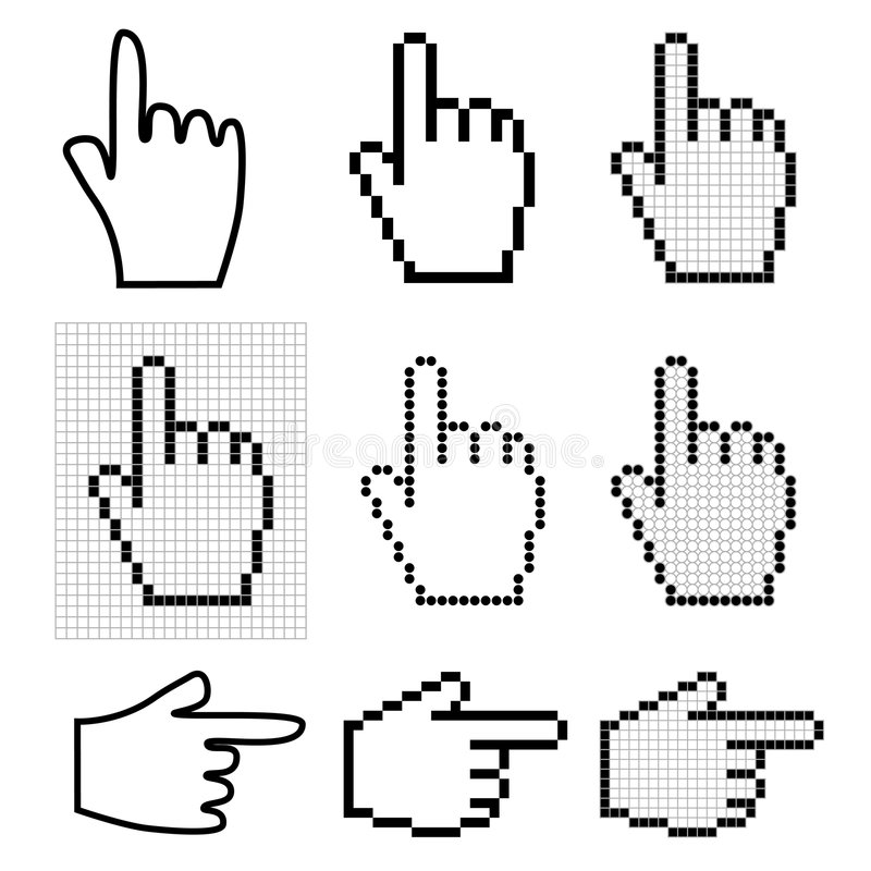 Hand mouse cursors. Set of 9 hand mouse cursors vector illustration