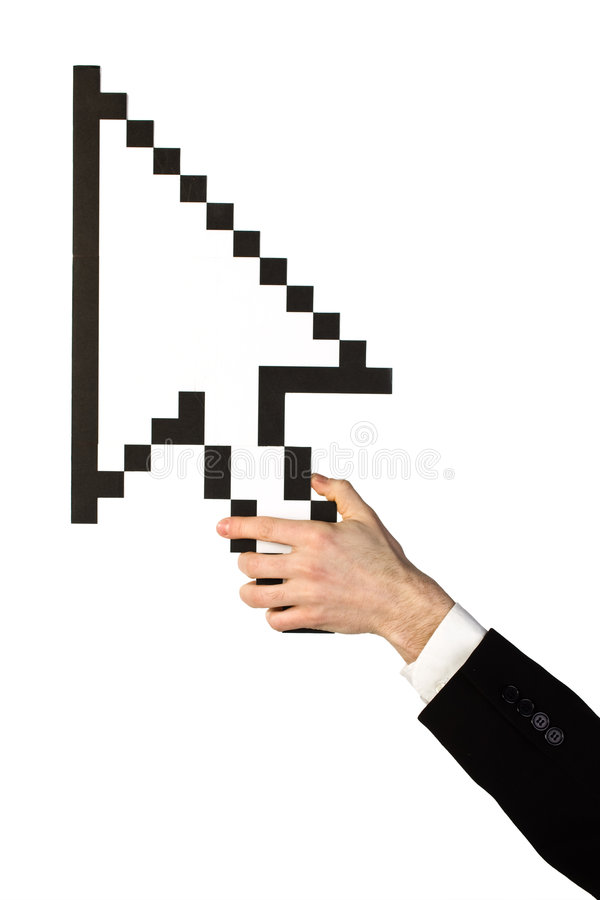 Hand and mouse pointer. A man's hand holding a big mouse pointer icon, isolated on white background stock photo