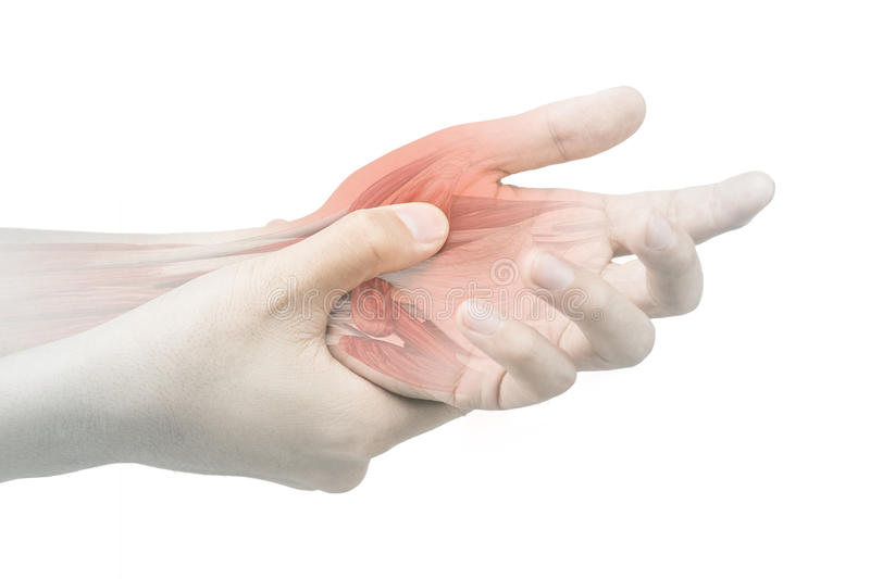 Hand muscle pain. White background royalty free stock images