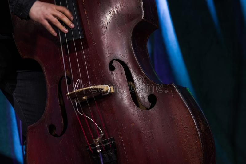 Hand of the musician on the electric upright bass at the live concert. royalty free stock photos
