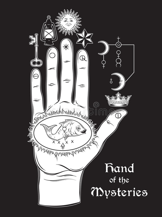 The hand of the Mysteries. The alchemical symbol of apotheosis, the transformation stock illustration