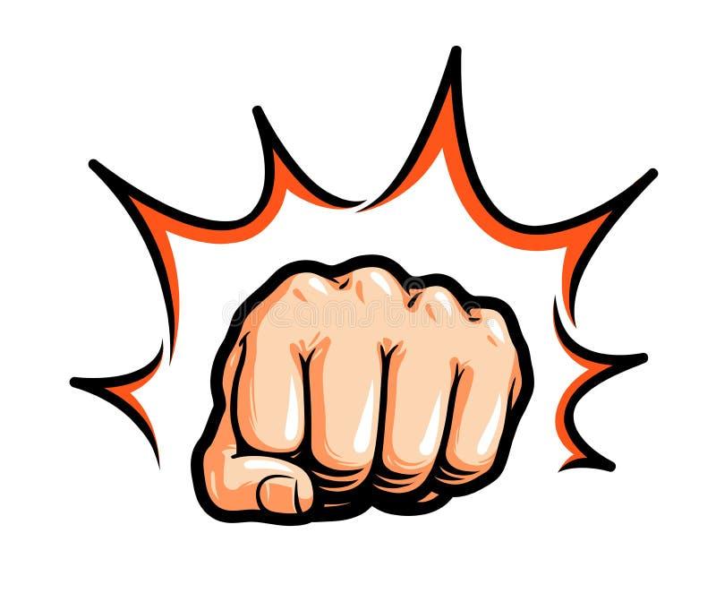 Hand näve som stansar eller slår Komisk popkonst, symbol också vektor för coreldrawillustration vektor illustrationer