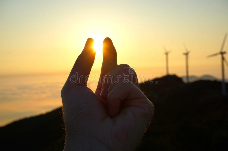 A hand in nature back light. stock photography
