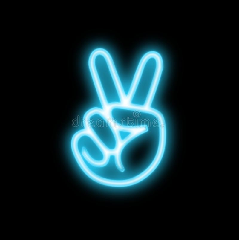 Free Hand Neon Peace Sign Stock Images - 105140644