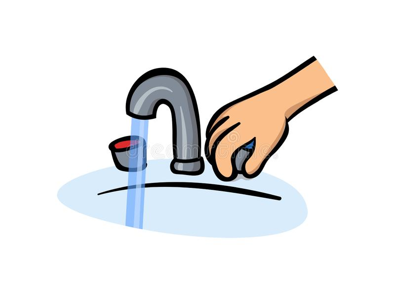 Hand next to water tap. Man washes hands, hygiene. Flat vector illustration. Isolated on white background. Hand next to water tap. Man washes hands, hygiene stock illustration