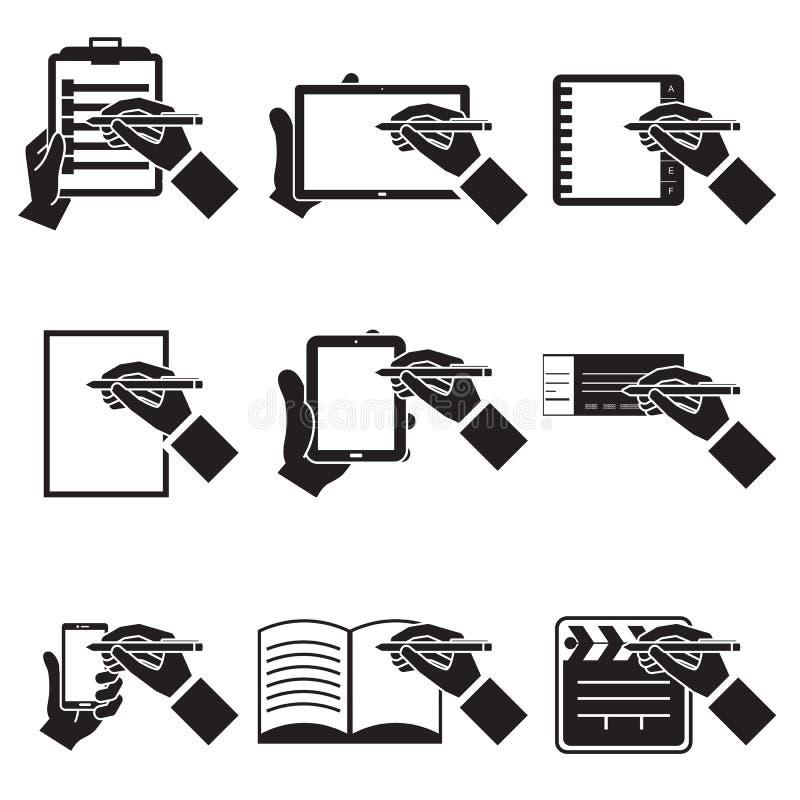 Hand notes set. Hand, notes, communication, computers,set, EPS10 vector illustration