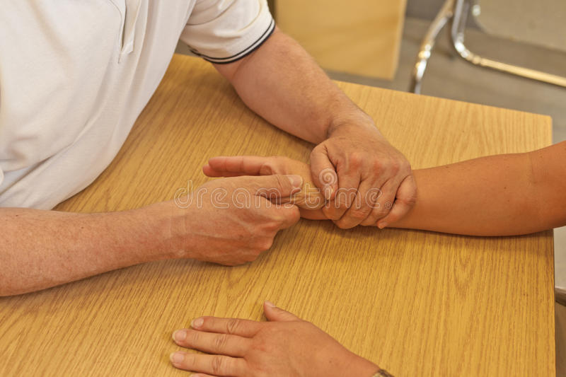 Hand occupational therapy stock image