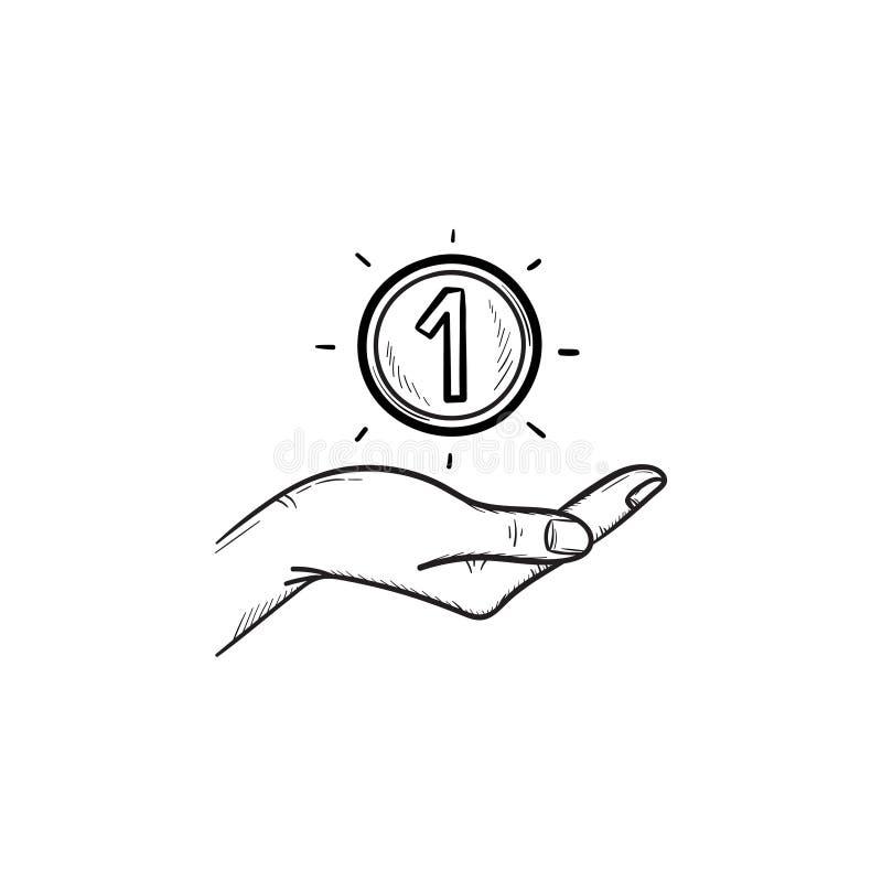 Hand och en för översiktsklotter för mynt hand dragen symbol vektor illustrationer