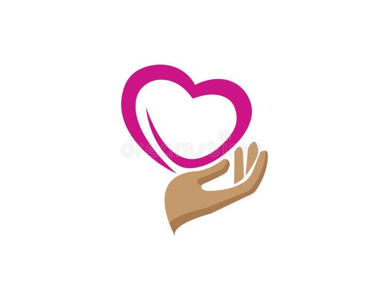 Hand och hjärta som att bry sig mänsklig hälsa för vektor för logodesignillustration stock illustrationer