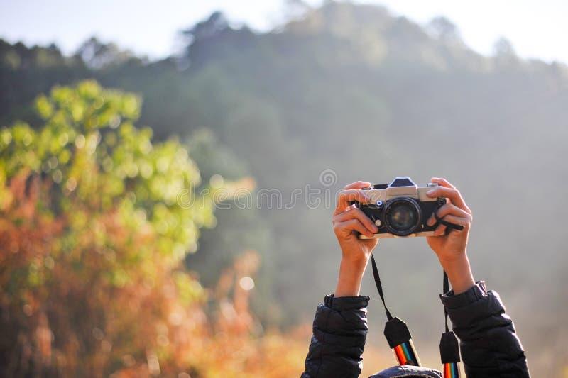 Hand och kamera av fotografen i skogen hans förälskelse av p arkivbilder